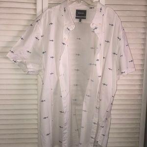 Men's Nautical Fish Button Up Casual Shirt